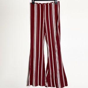 Forever 21 Maroon White Striped Bell Bottom Pants